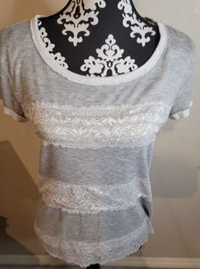 5 for $25💎Pleione Gray Lace Shirt Sz S